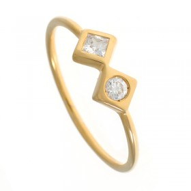 Anillo diamantes talla princesa y brillante