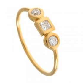 Anillo diamantes talla brillante y princesa